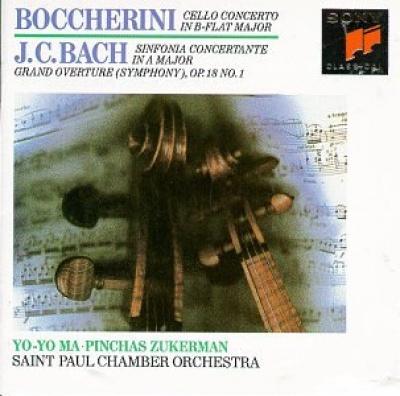 Boccherini: Cello Concerto in B flat major; J.C. Bach: Sinfonia Concertante in A major; Grand Overture (Symphony) Op. 18 No. 1
